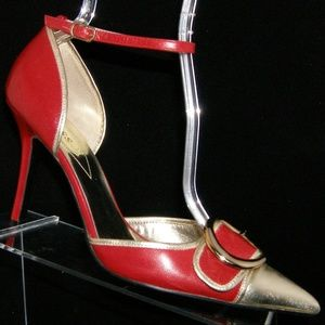 Guess 'Asia' red leather buckle d'orsay heel 8.5M